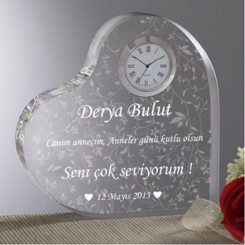 Annelere Özel Mesajlı Kalp Saat Model 2