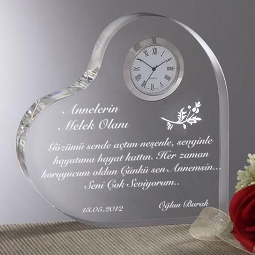Annelere Özel Mesajlı Kalpli Saat Model 1