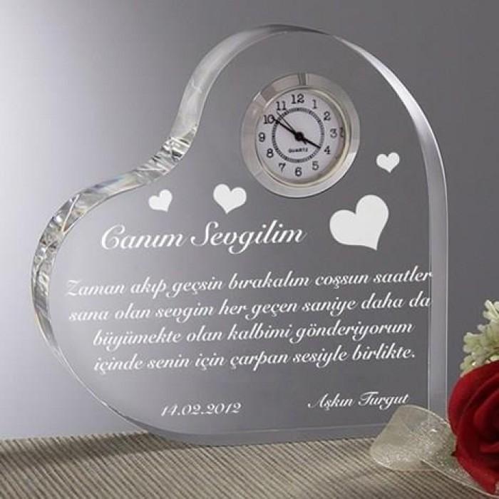 Aşk Mesajlı Kalp Saat Kişiye özel