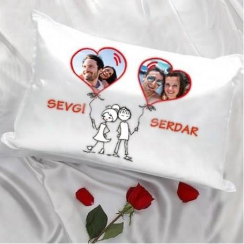 Aşkınıza Fotograflı Özel Kalp Balonlu Yastık