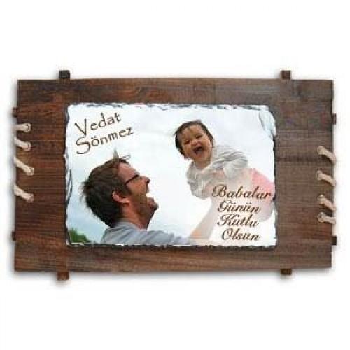 Babanıza Özel Ahşap Çerçeveli Doğal Taş Baskı