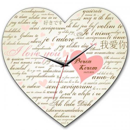 Her Dilde Seni Seviyorum Duvar Saati Kişiye Özel Hediye