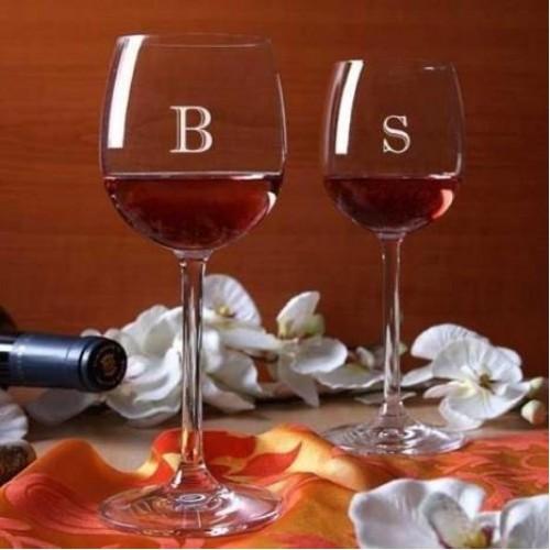 Kişiye Özel İsim Baş Harfi Şarap Kadehi Seti
