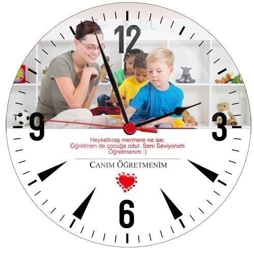 Özel Canım Öğretmenim Cam Duvar Saati