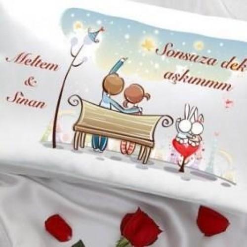 Sevgiliye Özel Saten Yastık